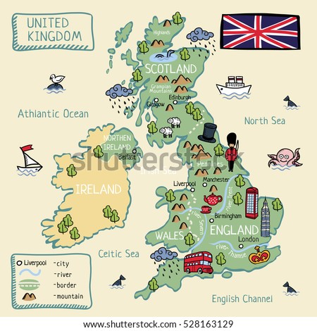 Map Of Uk Scotland And Ireland.Cartoon Map United Kingdom England Scotland Stock Vector Royalty