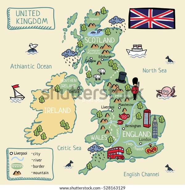 Map Of Uk And Scotland.Cartoon Map United Kingdom England Scotland Stock Vector Royalty