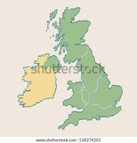 Cartoon Map United Kingdom Ireland Stock Vector Royalty Free