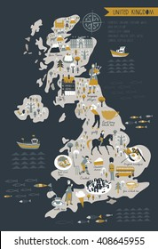 Cartoon Map of United Kingdom with Legend Icons