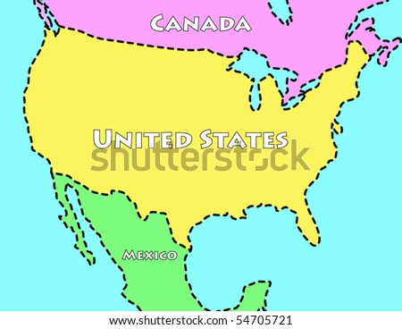Cartoon Map United States Stock Vector (Royalty Free) 54705721