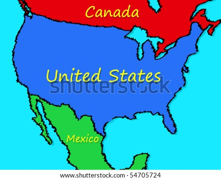 Cartoon Map United States Stock Vector Royalty Free 54705724