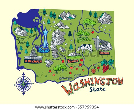 Cartoon Map Washington State Travel Attractions Stock Vector ...