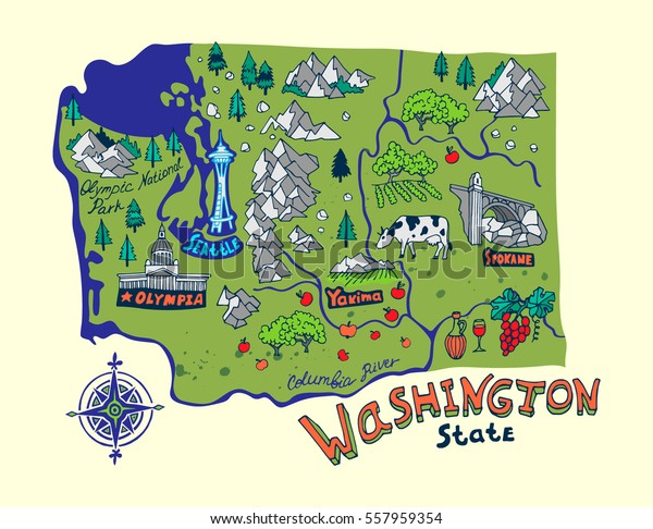 Cartoon Map Washington State Travel Attractions Stock Vector ...
