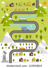 cartoon map of winter and summer town