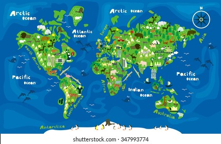 cartoon map of the world with animals
