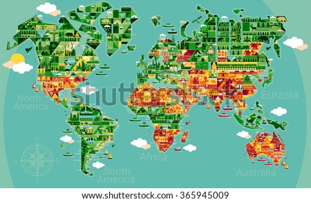 Map Of World With Cities.Cartoon Map World Cities Sightseeing Attractions Stock Vector