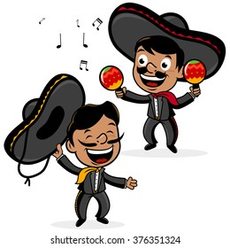 Cartoon mariachi Mexican men with sombreros, singing and playing the maracas. Vector illustration