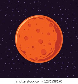 Cartoon of Mars, solar system planets. Astronomical observatory and stars universe. Astronomy galaxy illustration vector.