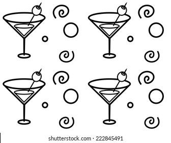 A cartoon martini glass seamless repeating pattern.