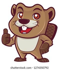 Cartoon mascot of beaver isolated on white background.