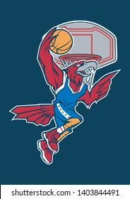 cartoon mascot eagle play basketball and do a slam dunk