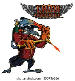 Cartoon Mascot Image of a Raven, Crow or Black Bird.Illustration of a welder Crow welding and text