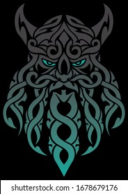 Cartoon mascot or logo with Celtic tangle face mascot of an old druid or Viking.