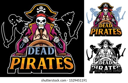 Cartoon mascot or logo with dead pirates.