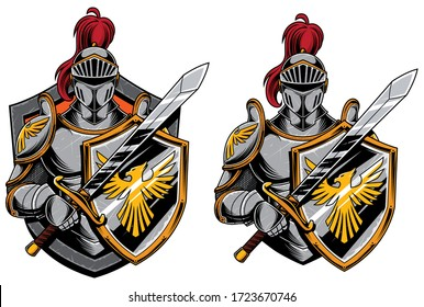 Cartoon mascot or logo with Knight in 2 versions.