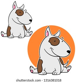 Cartoon mascot of pit bull  very funny dog