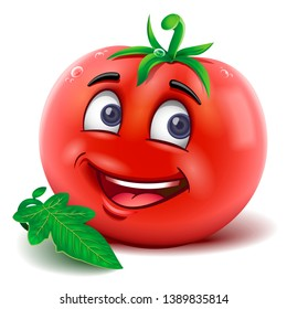 Cartoon mascot tomato smiling. Vector isolated.