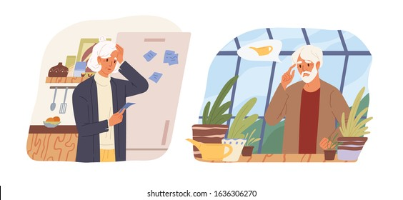 Cartoon mature woman looking on reminder sticker at refrigerator vector flat illustration. Aged male forgot watering flowers isolated on white. Concept of memory loss and alzheimer's disease