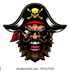 An cartoon mean tough looking pirate sports mascot character