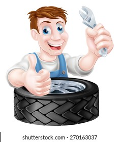 Cartoon mechanic with car tire giving a thumbs up and holding a spanner or wrench