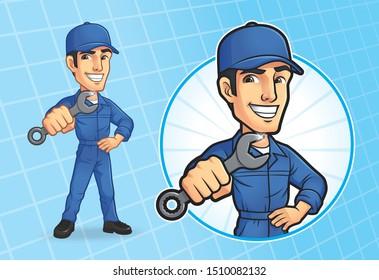 Cartoon Mechanic Character, Vector EPS 10