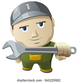 Cartoon mechanic holding a wrench. Vector illustration