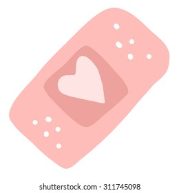 Cartoon medical patch for kids flat icon. The vector illustration for ui, web games, tablets, wallpapers, and patterns. Pink heart.