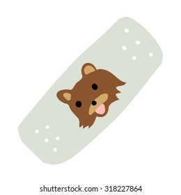 Cartoon medical patch for kids flat icon. The vector illustration for ui, web games, tablets, wallpapers, and patterns. With brown teddy bear.
