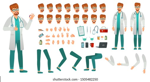 Cartoon medicine doctor creation kit. Medical man, healthcare medic and male doctor character constructor. Professional hospital dentist doctors construction. Isolated vector icons set