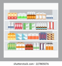 Cartoon Medicine For Sale Display in Rack Stand in Pharmacy