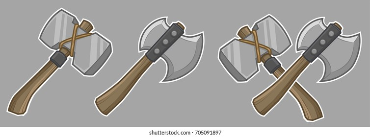Cartoon medieval hammer and ax weapons. Gray background on separate layer for easy editing & removal.