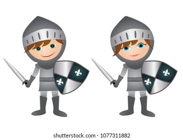 Cartoon medieval knight characters- Boy and girl