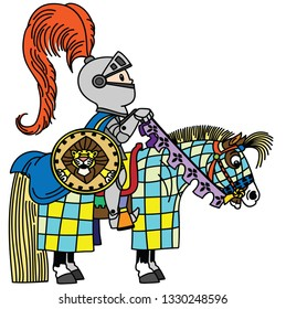 cartoon medieval knight horseman in armor .  Horse rider boy sitting on his pony horseback . Side view isolated vector illustration for little kids