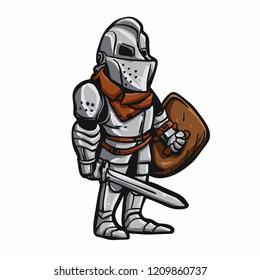 Cartoon medieval knight vector illustration