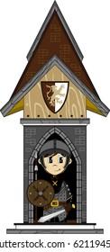 Cartoon Medieval Soldier at Guard Post