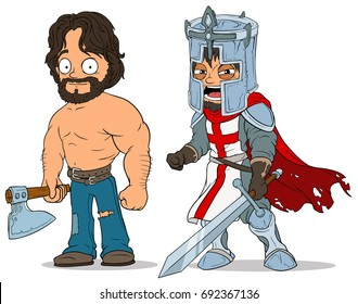 Cartoon medieval warrior knight sword and lumberjack peasant with axe characters vector set