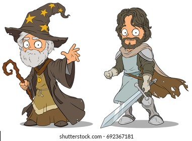 Cartoon medieval wizard and brave knight with sword characters vector set