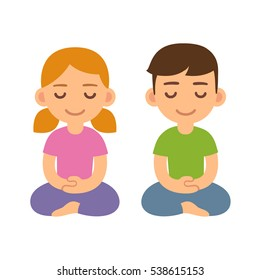 Cartoon meditating children, boy and girl. Cute meditation and mindfulness illustration.