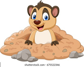 Cartoon meerkat in a hole