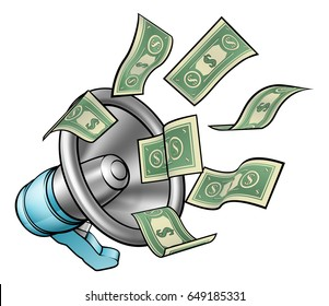 A cartoon megaphone or bullhorn with money flying out concept for referral bonus, marketing or other activity where you are paid for speaking or communication