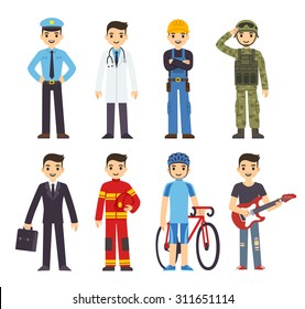 Cartoon men of 8 different professions: policeman, fireman, doctor, soldier, construction worker, businessman, athlete and musician.