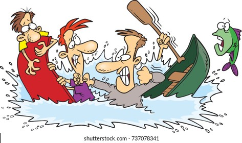 cartoon men fighting on sinking canoe boats