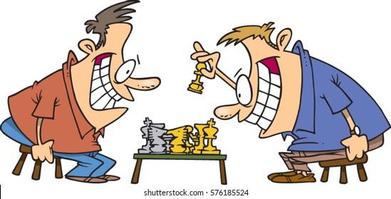 cartoon men playing chess