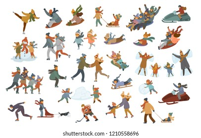 cartoon men women couples kids cute children family sledding, ice skating on a rink, tubing, playing, making snowman and snow angel, enjoying winter sports and leisure activities scenes set