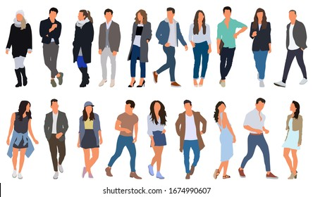 Cartoon men and women walking outdoors in the city. Flat colorful vector illustration