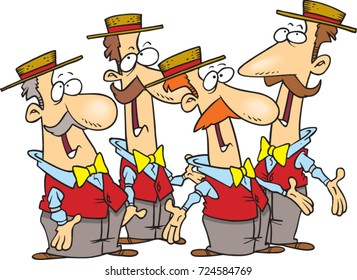 cartoon men's barbershop quartet singing