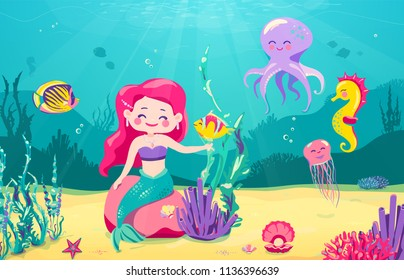 Cartoon mermaid background with fish, rocks, seaweed, pearl, jellyfish, coral, starfish, octopus, sea horse Underwater sea life cute character design Vector illustration
