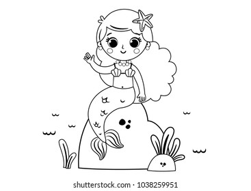 Mermaid Coloring Page Images Stock Photos Vectors Shutterstock