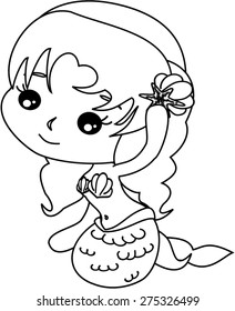 Cartoon mermaid with her hairpiece. version two. coloring version.